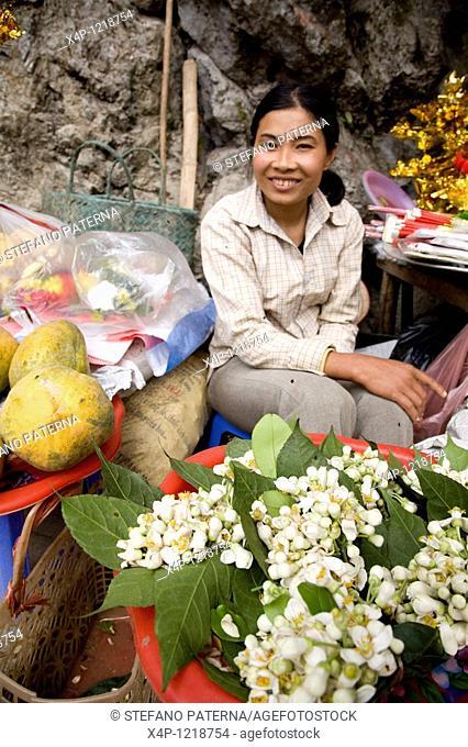 Woman selling offerings. The Perfume Pagoda Chua Huong. Near the village Ben Duc 60 km south of Hanoi. Vietnam