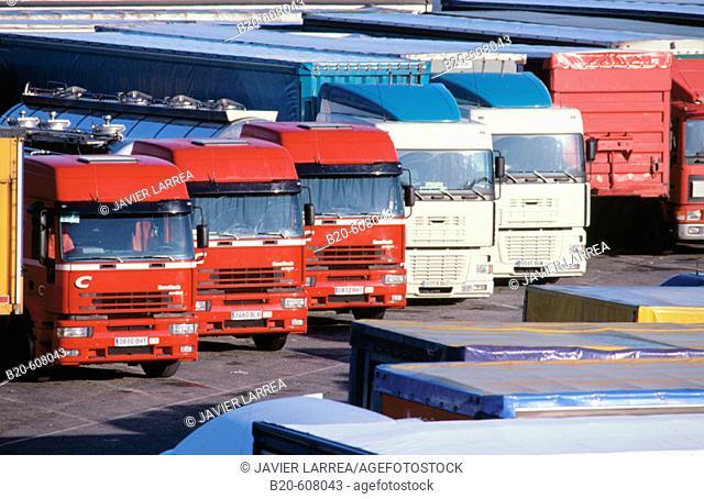 Parked trucks at the Spanish-French border. Irún. Gipuzkoa. Spain
