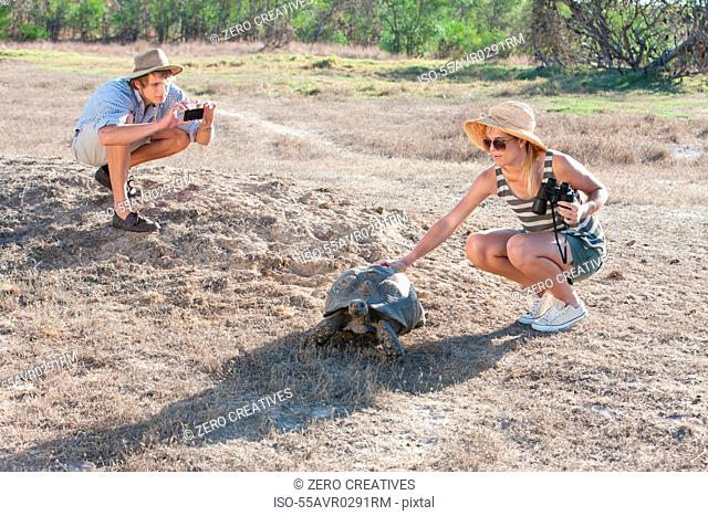 Couple with tortoise, Stellenbosch, South Africa