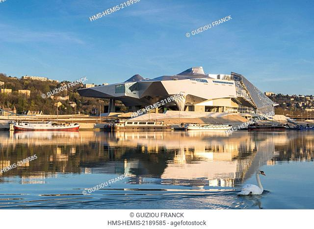 France, Rhone, Lyon, La Confluence district south of the Presqu'ile, first French sustainable quarter certified by WWF, Musee des Confluences is a science...