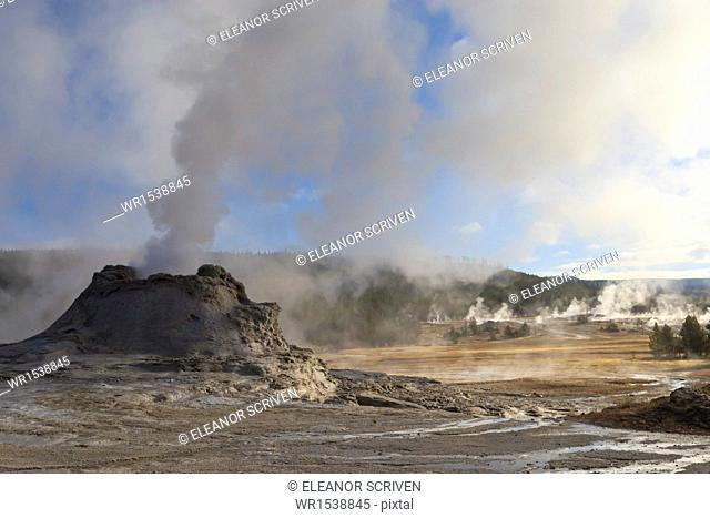 Castle Geyser and steamy surrounds, Upper Geyser Basin, Yellowstone National Park, UNESCO World Heritage Site, Wyoming, United States of America, North America