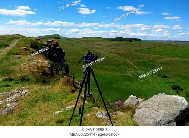 making-of, camera, tripod, cliffs, summers, Hadrian's Wall, Upper Denton, Great Britain, England