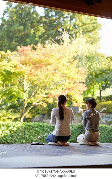 Japanese women at a temple