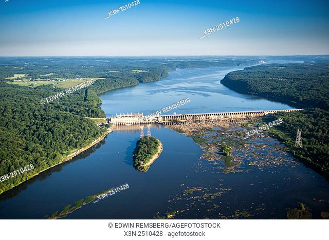 Aerial view of a dam in the Susquehanna River in Maryland