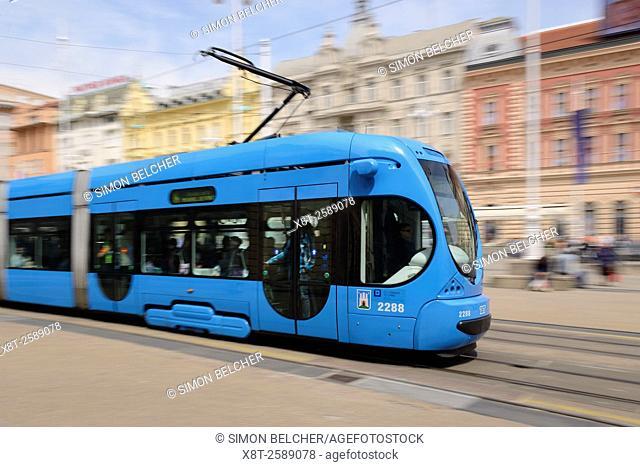 Tram in Ban Jelacic Square, the City Centre of Zagreb, Croatia