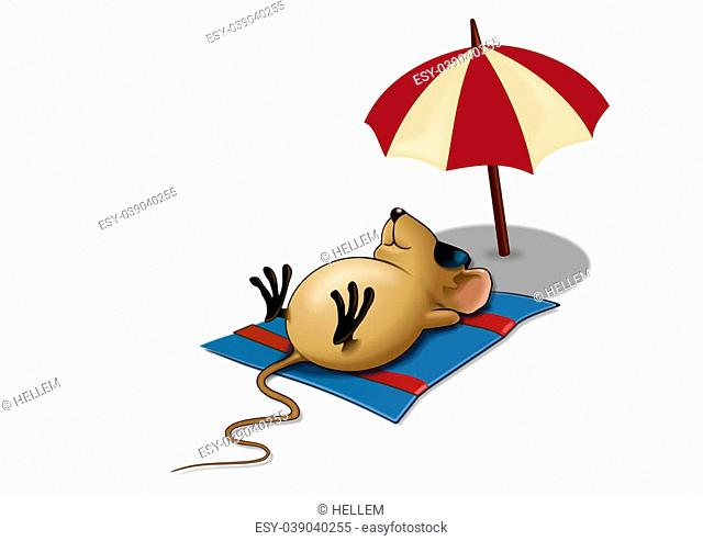 Sleepy mouse on it's back with a parasol and on a white background
