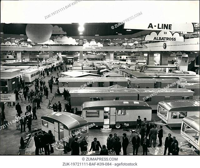 Nov. 11, 1972 - International Caravan & Camping Show. Photo shows General view of the International Caravan & Camping Show, which opened today at Earls Court