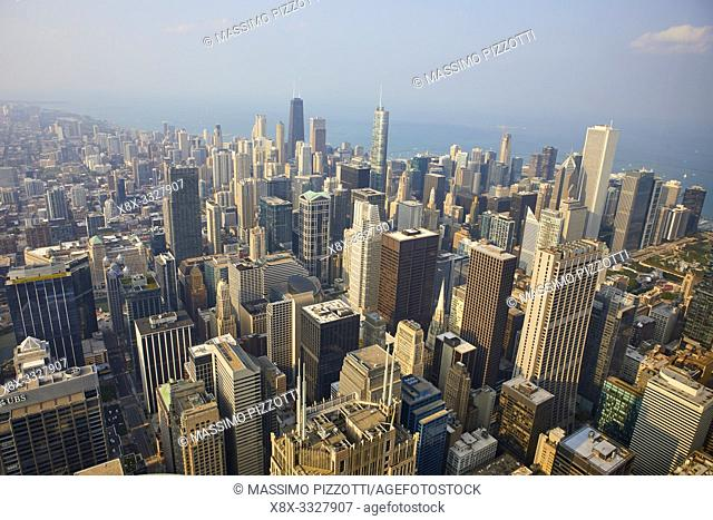 Elevated view of Chicago seen from Skydeck, Chicago, Illinois, United States