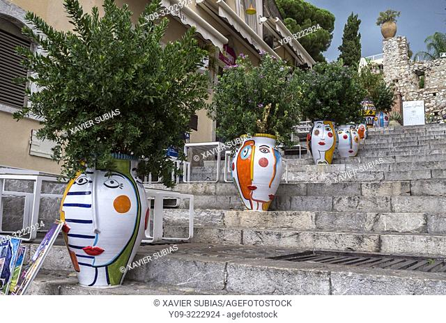 Pottery in street, Taormina, Sicily, Italy