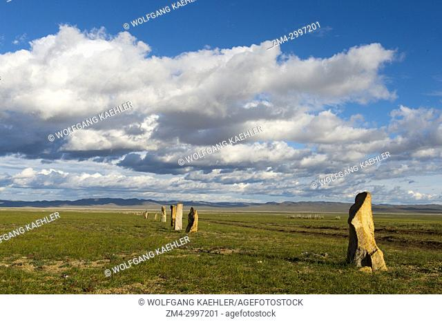 The Ungut complex, a Turkik monument ensemble consisting of man stones and numerous tombs from the 6-8th centuries AD, in Hustain Nuruu National Park, Mongolia