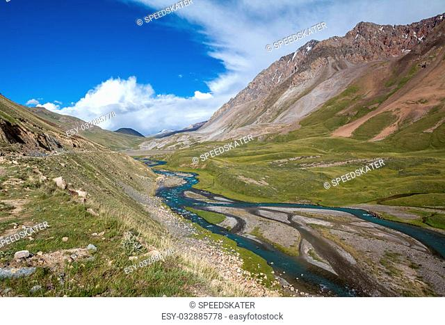 Twisting river Jil-Suu in Kirgizia, Tien Shan mountains