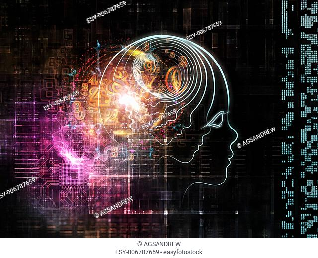 Interplay of outlines of human head, technological and fractal elements on the subject of artificial intelligence, computer science and future technologies