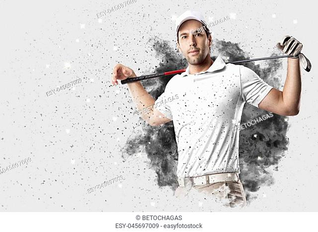Golf Player with a white uniform coming out of a blast of smoke