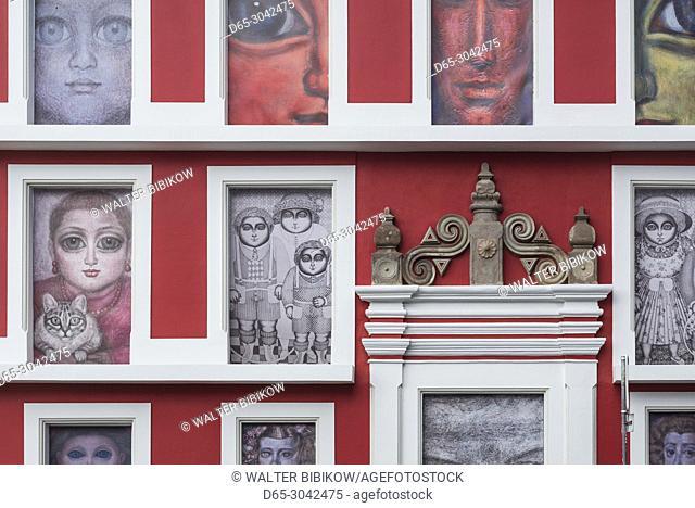 Portugal, Azores, Terceira Island, Angra do Heroismo, Praca Alfandega square, murals
