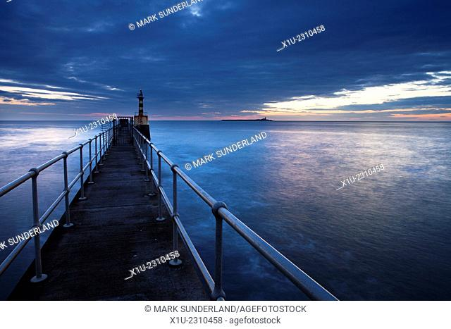 Harbour Light and Coquet Island Amble by the Sea Northumberland Coast England