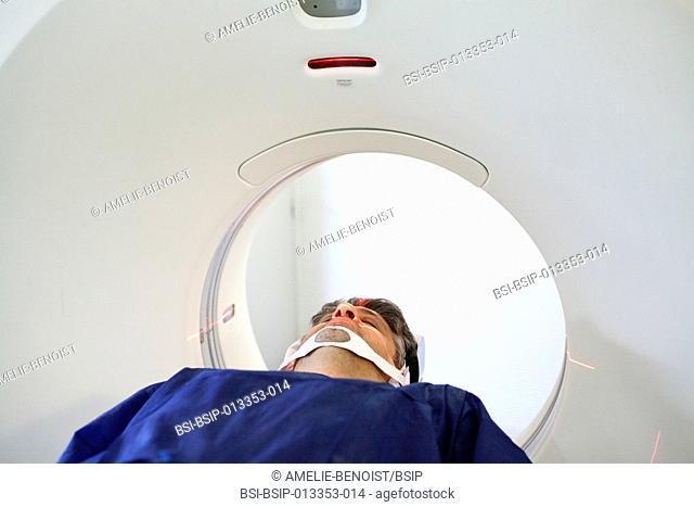 Digital medical imaging centre in Paris, France. Cranial CT scan