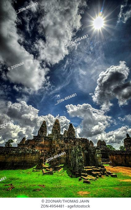 The East Mebon is a 10th Century temple at Angkor, Cambodia. Built during the reign of King Rajendravarman, it stands on what was an artificial island at the...