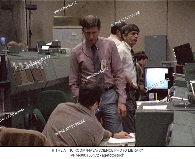 Challenger disaster, mission control after disaster. Footage of mission controllers in the Mission Operations Control Room (MOCR) at the Johnson Space Center