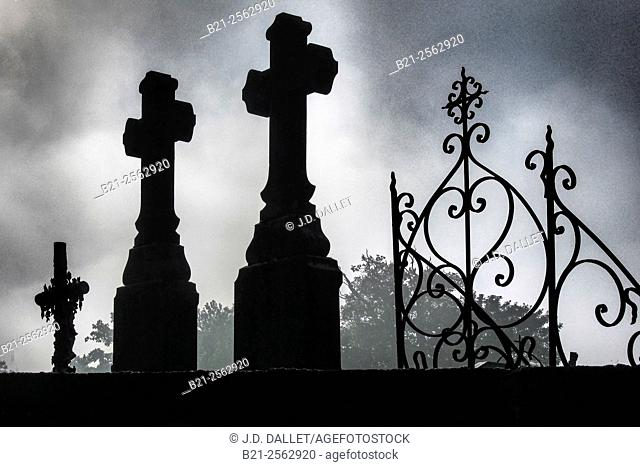 Graveyard at Menidou, Mayenne, Pays de la Loire, France