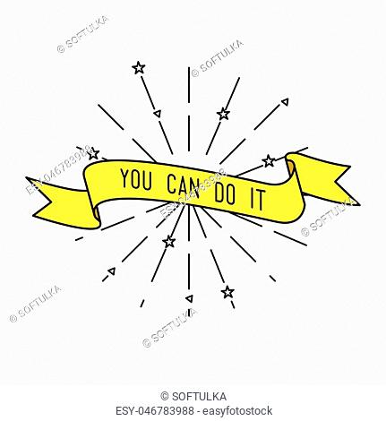 You can do it. Color inspirational vector illustration, motivational quotes typographic poster design in flat style, thin line icons for frame, greeting card