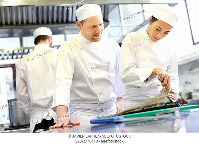 Chef cutting cod, Cook in cooking school, Cuisine School, Donostia, San Sebastian, Gipuzkoa, Basque Country, Spain, Europe