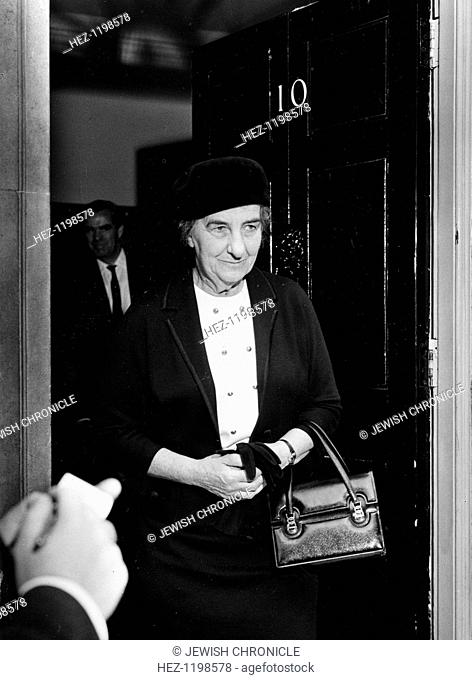Golda Meir (1898-1978), Israel Foreign Minister leaving No 10 Downing Street after visiting the Prime Minister