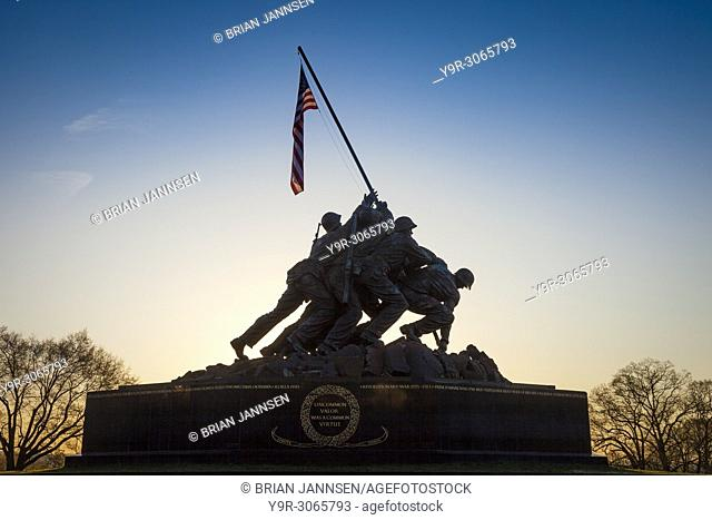Silhouette of Iwo Jima Marines Memorial in Arlington Virginia, USA