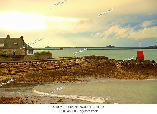 Red seamark, sea boats and rocks, Bretteville, near Cherbourg, Cotentin, 50, Normandy, France