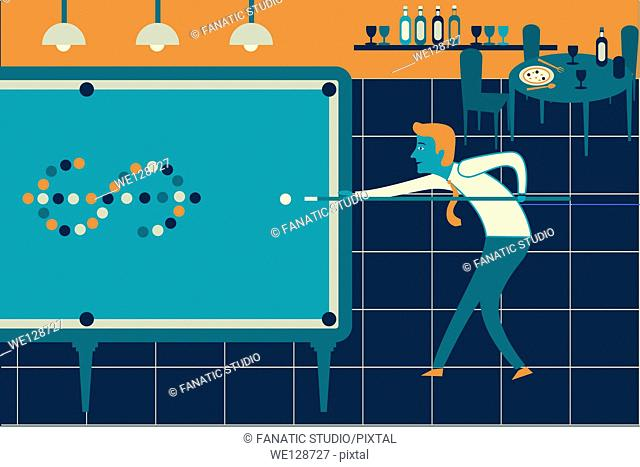 Illustrative image of businessman playing pool representing business game