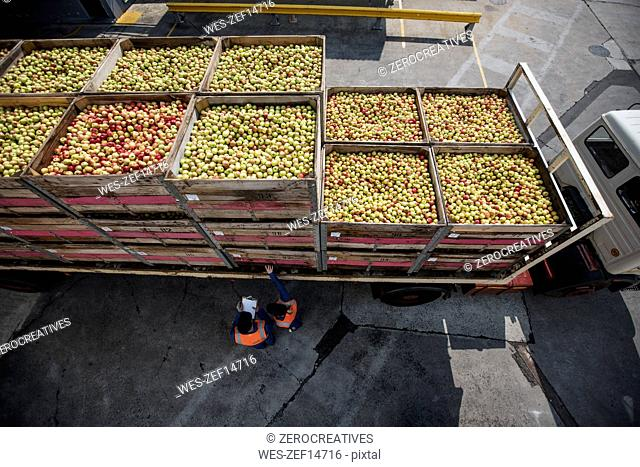 Truck transporting apples