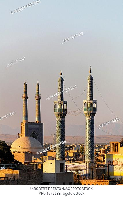 Mosques and minarets on the skyline of Yazd, Iran