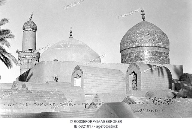 Tomb of Sheik Maroof, historical photo, circa 1930, Baghdad, Iraq, Middle East, Asia