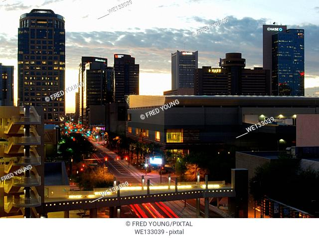 Phoenix, AZ, USA - October 17, 2014: Downtown Phoenix, AZ skyline at dusk. Phoenix is the capital of arizona with a population of 1 1/2 million residents