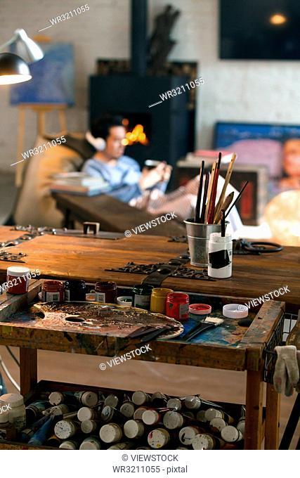 Male artist's studio