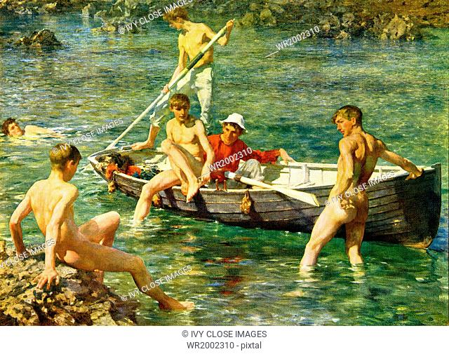 This painting titled Ruby, Gold and Malachite was done by English artist Henry Scott Tuke in the summer of 1902 and is housed in Guildhall Gallery in London