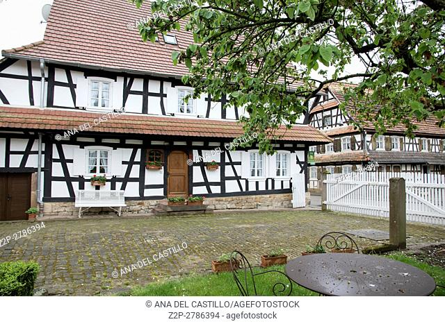 Traditional half-timbered houses in the streets of the small town of Hunspach in Alsace. France