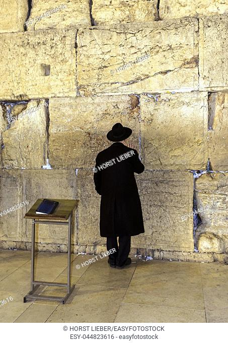 A Jew at the biblical Wailing Wall in Jerusalem, Israel, Middle East