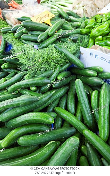 Cucumber at the market stall in Selcuk town, Izmir Province, Aegean Coast, Turkey, Europe