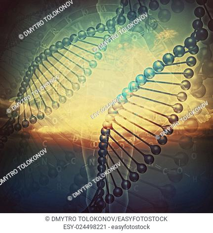 Biology. Abstract education and science backgrounds with human DNA
