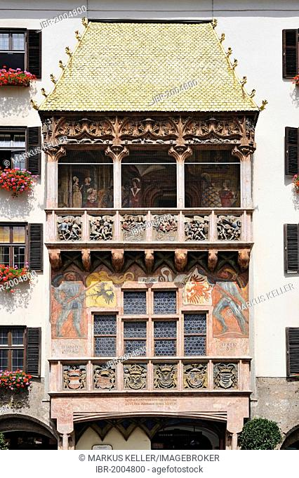 Goldenes Dachl or Golden Roof, a late Gothic alcove balcony, built in the 15th century, historic district of Innsbruck, Tyrol, Austria, Europe