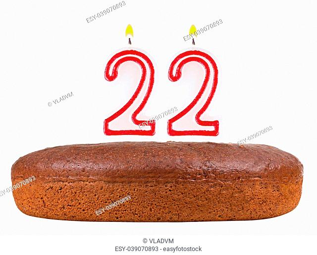Birthday Cake With Candles Number 22 Isolated On White Background