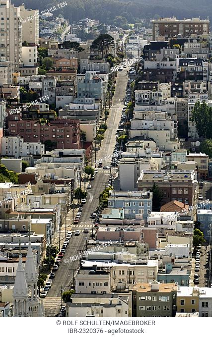 Filbert Street in the North Beach neighbourhood, view towards the west, San Francisco, California, USA, North America