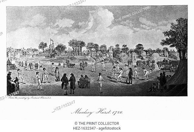 Cricket at Moulsey Hurst, Surrey, 1780 (1912). Moulsey Hurst is located in what is now West Molesey, Surrey on the south bank of the River Thames above Molesey...