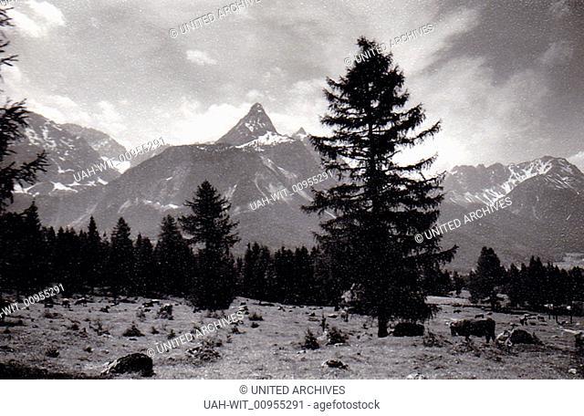 Wettersteingebirge bei Ehrwald mit Sonnenspitze., Sammlung Wittmann