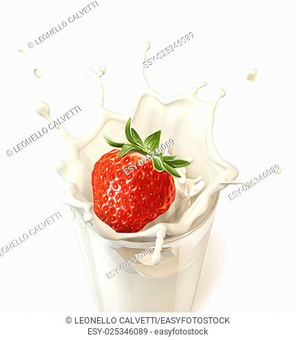 Strawberry falling into a glass of milk creating a splash. On white background. Clipping path included