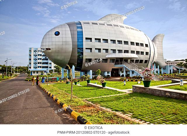 Facade of a building, Fish Building, Hyderabad, Andhra Pradesh, India