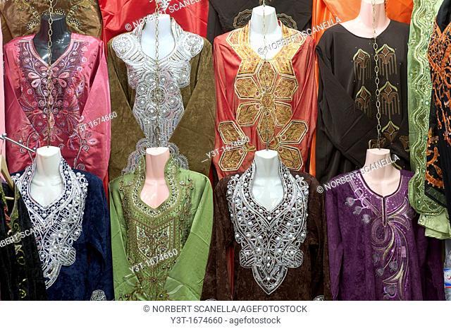 North Africa, Tunisia, Tunis. The souks. Shop djellabas