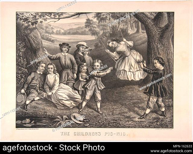 The Children's Pic-Nic. Publisher: Currier & Ives (American, active New York, 1857-1907); Date: ca. 1872-74; Medium: Lithograph; Dimensions: image: 9 1/8 x 12...