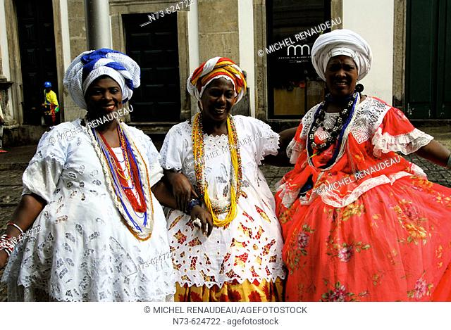 Women in traditional dress. Salvador da Bahia. Brazil