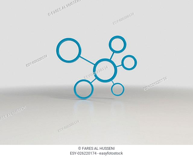 Abstract network with circles 3D in white stage